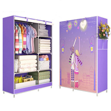 3D painting Wardrobe Non-woven Fabric Steel frame reinforcement Standing Storage Organizer Detachable Clothing Closet furniture(China)