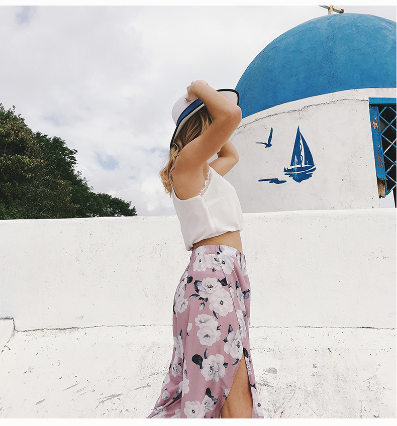 2018 Women Pants Beach Floral Print High Waist Plus Size Loose Chiffon Casual Wide Leg Pants Pink Split Sexy Women Trousers Sale 10
