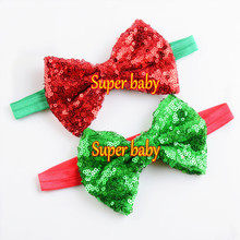 Factory price kids hair accessories fancy Christmas sequin fabric bow elastic headband-bowknot headwraps(China)