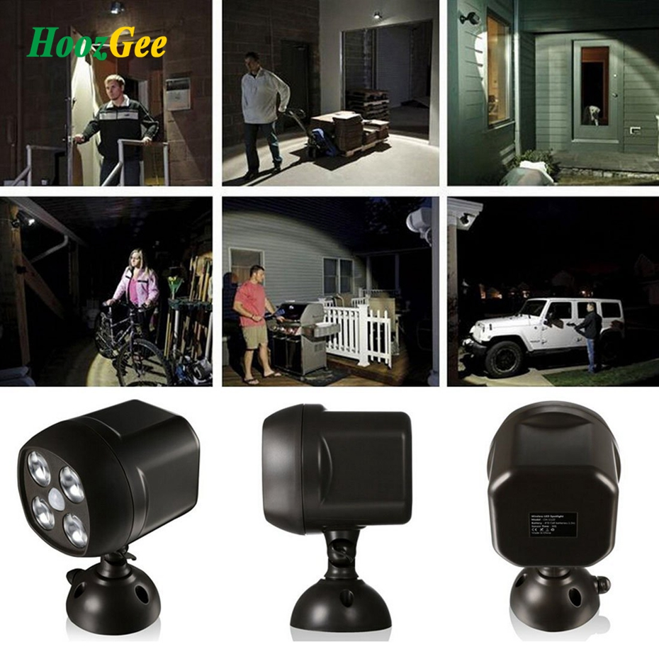HoozGee 4 LED Super Bright Spotlight PIR Motion Sensor Wall Lights Yard Manor Security Lamp Owls Eyes Waterproof Battery Power<br>