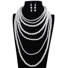 African Jewelry Set Nigerian Wedding Accessories Cocktail Banquet Party Dress Jewellery Best Selling Large Necklace Earrings Set(China)