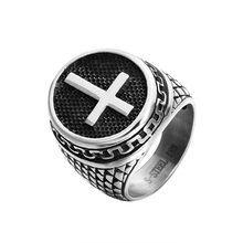 ZMZY Unique Fashion Vintage Black Male Cross Ring Cool Stainless Steel Rings for Women Man Jewelry