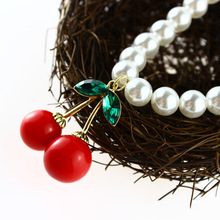 ANL0245, Vivi Magazine Design Simulated Pearl Chain Red cherry pendent necklace Female Accessories(China)