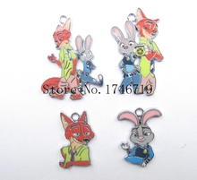 Hot Sale 10 pcs Cartoon Zootopia  Metal Charms DIY Jewelry Making Making Mobile Phone Accessories For Best Gift D-124