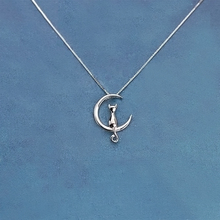 Real Pure 925 Sterling Silver Moon Cat Necklaces Pendant Long Kitty Necklace For Women Hot Fashion sterling-silver-jewelry(China)