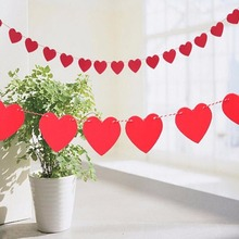 1 meter 12 Colors love heart Paper Flag Party bell garland Decoration Banner Bunting for wedding event Supplies(China)