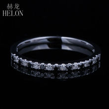 HELON Solid 10K White Gold Pave Set White & Black Diamonds Engagement Wedding Band Half Eternity Fine Ring Women's Jewelry Ring