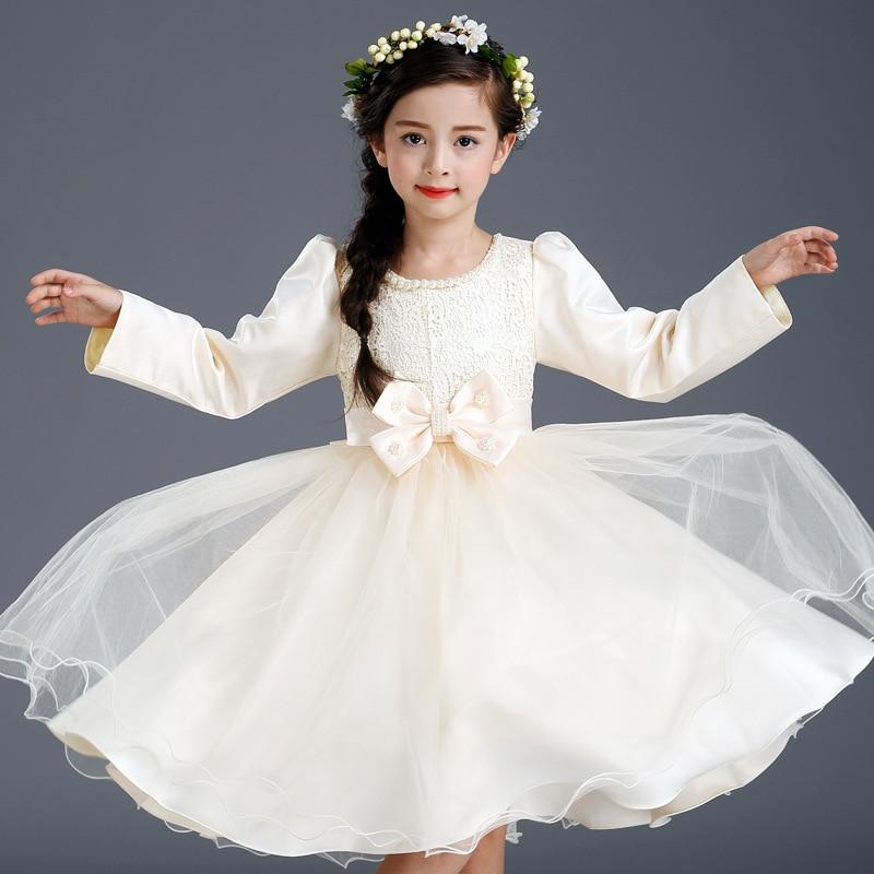 Korean New Autumn Girls Wedding Bow Princess Dress Costumes Kids Clothing Champagne Bow Mesh<br>