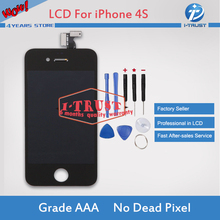 Black Glass Touch Screen Digitizer & LCD Assembly Replacement For iPhone 4S & Tools & Freeshipping(China)