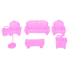 6PCS Beautiful Plastic Sofa Couch Set Doll Accessories Cute Dollhouse Furniture Set Barbie Doll House Furniture Kids Best Gift