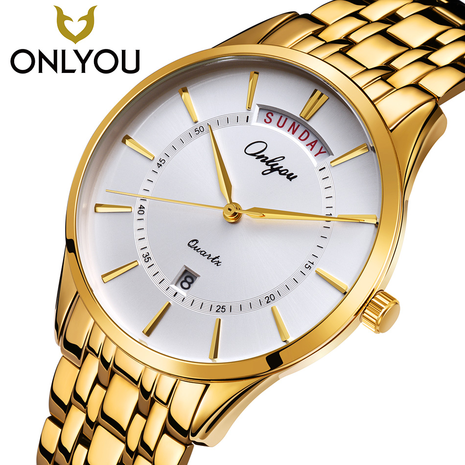 ONLYOU Luxury Golden Quartz Watch Casual Watches Women Waterproof Wristwatch Man Military Clock date Shown Lovers Watch hot<br>