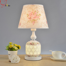 Nordic modern simple ceramics table lamp,7 styles cloth lamp shade ceramics base creative table light for bedroom study room(China)