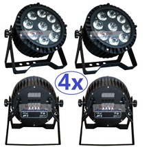 4xLot Led Par Light Waterproof 9x10W RGBW Quad Color High Power Flat Par Can IP65 Outdoor Professional DJ DMX Disco Stage Lights