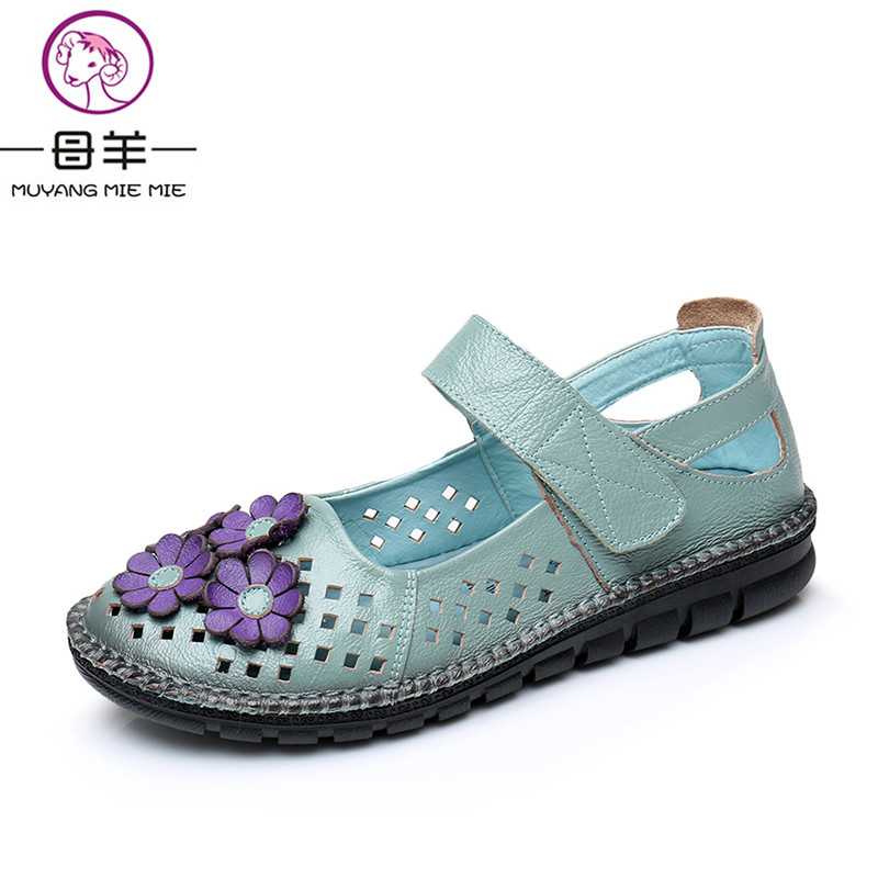 MUYANG MIE MIE Summer Shoes Woman Genuine Leather Women Shoes Female Soft Flat Sandals Comfortable Fashion Women Sandals<br>