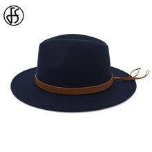 98c41af2fe699 FS Men s Wool Felt Brim Fedora Hat Trilby Women Vintage Panama Fedora Jazz  Hats