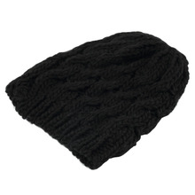 1Pcs Fashion Women Black Beanies Hat Warm Beret Braided Baggy Beanie Crochet knitting Hat for Winter Free Shipping Hot