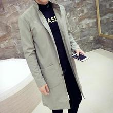 Big Size XXXL Men's Trench Coats England Man's Single-Breasted Long Pea Coat Trench Slim Fit Classic Trenchcoat in Men's Trench(China)