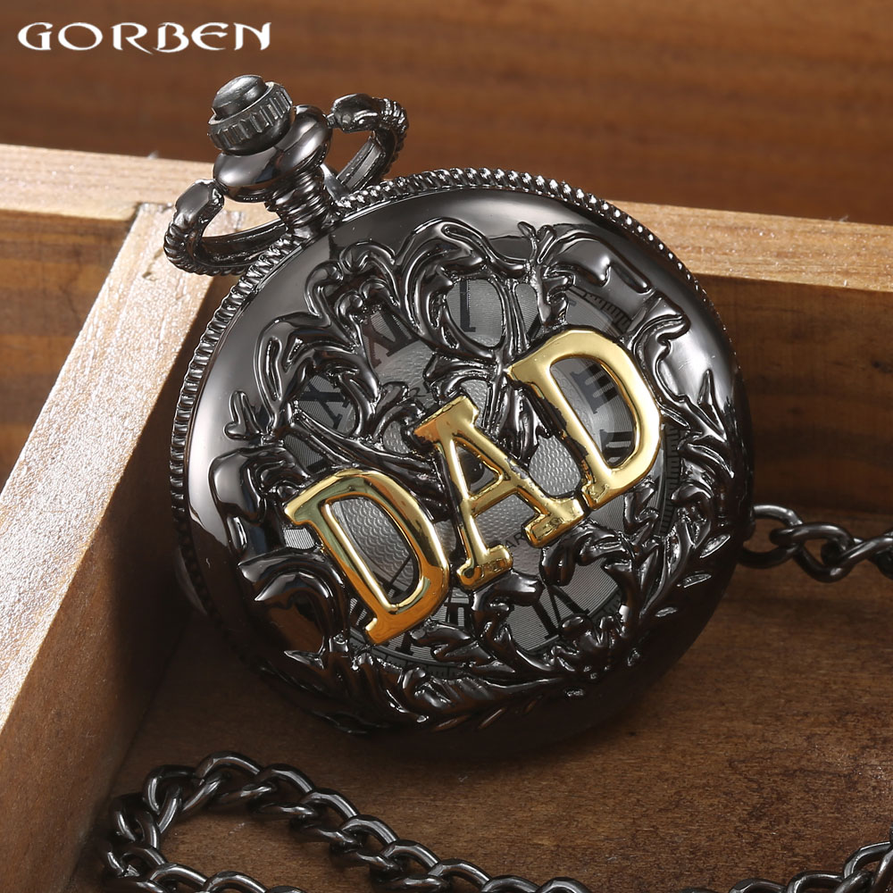 2016 GORBEN Black Hollow dad pocket watch necklace THE GREATEST Dad FOB Vintage Quartz Men Watches Luxury Fathers Day Gift<br><br>Aliexpress