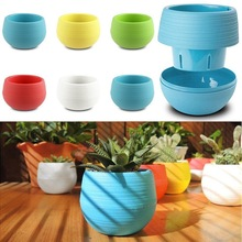 Mini Colourful 1pcs 7*6.5CM Cute Round Home Garden Office Decor Planter Plastic Plant Flower Pots Garden Supplies Free Shipping