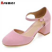 Asumer Party shoes women pumps fashion sweet shallow single shoes big size 33-45 square high heels shoes solid buckle summer