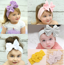 2016 New Products 12cm Big Cotton Bow Headwrap Stretch Bow Headbands child headband Photo Prop Kids Hair Accessories TD10