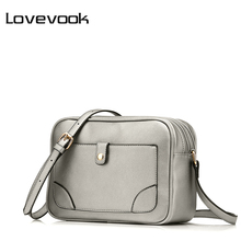LOVEVOOK brand shoulder bags for women 2017 luxury handbags designer crossbody bags female solid flap bag black/silver/brown(China)