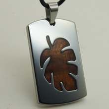 men/women jewelry  leaf wood inlayed heavy 39g hi-tech scratch proof  tungsten pendant necklace
