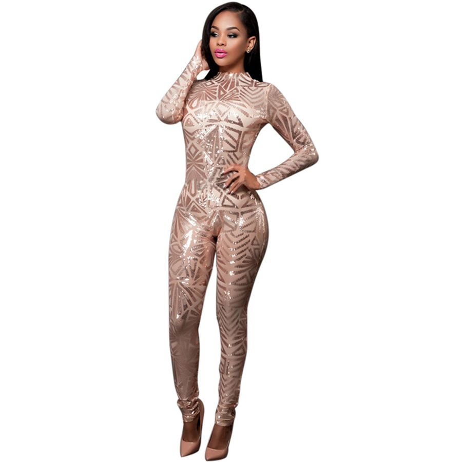 New Bodysuit Black Sequined Jumpsuit Mesh See Through Bodysuit Fashion Long Sleeve White Sexy Jumpsuits For Women 2016 Rompers