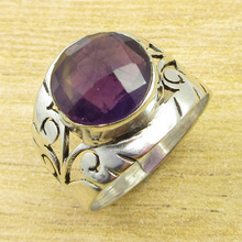 Amethysts Collectible Gemset ! Silver Overlay EYE-CATCHING Ring Size US 6.75(China)