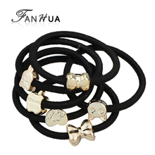 FANHUA 10pcs/set Random Shape Hair Jewelry Black Elastic Rope Bowknot Heart Rabbit Cat Headbands HairwearHair Accessories