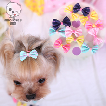 Pet Grooming Bows Small dog hair accessories grooming hair bows with clips puppy Hair ties headdress jewelry Tactic Yorkshire(China)