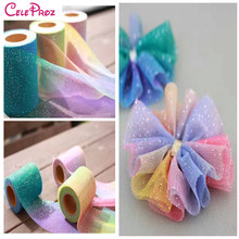 Hot Sale 6cm Rainbow Color Tulle Mesh DIY headband Hair Bow Ornaments Pom Pom Material Tutu Skirt Personalized Crafts Supplies(China)