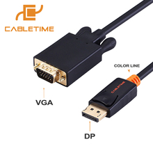 Cabletime DisplayPort To VGA Cable DP To VGA Converter Displayport VGA Cable Gold for Macbook Projector laptop Camara HDTV N041(China)