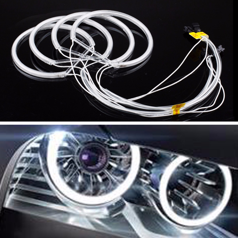4Pcs 131MM CCFL Angel Eyes Light Tube Headlight White DRL Day Lights For BMW E36 3 E38 7 E39 5 E46(China (Mainland))