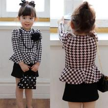 Best Price Kids Baby Girls Long Sleeve Houndstooth Necklace Flower Pageant Tutu Dress