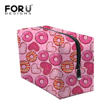 Multi-colors Lady Cosmetic Pouch Fashion Makeup Bag Doughnuts Print Brand Necessaries Makeup Case Girls Travel Wash High Quality