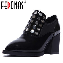Buy FEDONAS New Spring Autumn Women Genuine Leather Pumps Soft Thick Heel Ladies Wedding Shoes Woman Punk Rivets Pointed Toe Pumps for $49.66 in AliExpress store