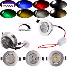 Dimmable 3W 6W Recessed LED Ceiling Downlight Spotlight Lighting Lamp Bulb White Free Driver Corlor Red Yellow Blue Green Purple