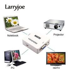 Larryjoe Mini 1080P VGA to HDMI adapter Converter VGA2HDMI Converter Connector with Audio for PC Laptop to HDTV Projector