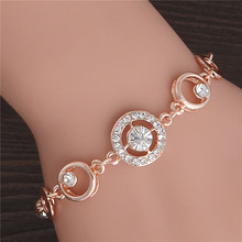 2017 Famous Brand Stylish Women New Fashion Gold Color CZ Crystal Rhinestone Flower Charm Bracelet For Women Bangle Gift Jewelry