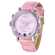 Fashion Wifi DVR Watch Women Pink Mini P2P Pocket Mini DVR WIFI Watch With Classic Dial Gem finish WIFI DVR Watch