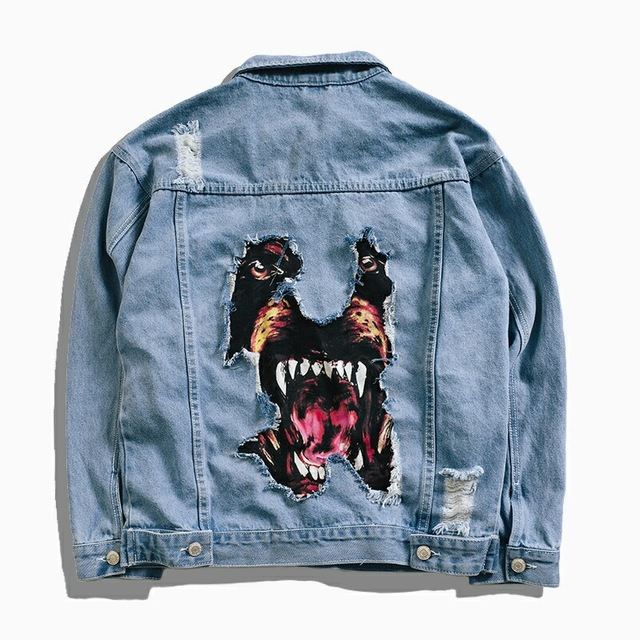 Men's Fashion Denim Jackets Hip Hop Cartoon Dog Ripped Denim Jackets Streetwear Coat for Male