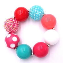 Baby Kids Birthday Outfits Christmas Day Gift Jewelry Girls Lovely 20mm Acrylic Chunky Beads Elastic Bubblegum Bracelets Bangle(China)