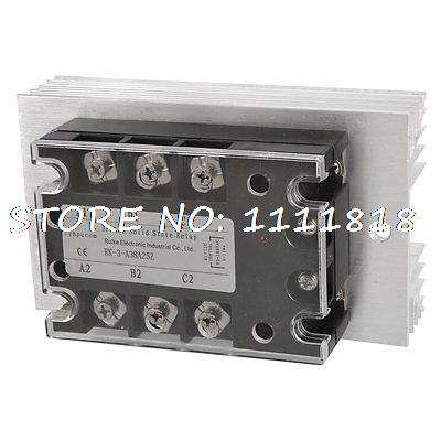 Control 90-280VAC Load 380VAC 25A SSR Solid State Relay + Silver Tone Heat Sink<br>