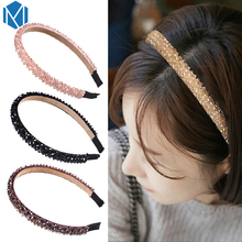 M MISM Fashion Glitter Rhinestone Girls Hair Hoops Luxury Shinny Crystal Hair Band Headband Women's Hair Accessories Party Club(China)