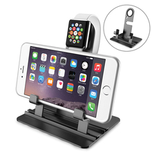 2 in 1 Aircraft Aluminum Charging Stand Docking Station Bracket Cradle Holder for Apple watch iPhone and iPad Black silver 2017(China)