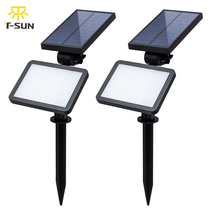 T-SUNRISE 2PCS PACK Solar Spotlight Adjustable 48 LEDs Solar In-Ground Light Waterproof Landscape Wall Light for Outdoor Garden