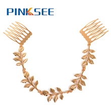 Women Wedding Hair Jewelry With 2 Combs Bridal Fashion Silver/Golden Leaf Hair Cuff Pin Clip Tassels Chains Headband