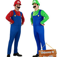 Halloween Costumes Men Super Mario Luigi Brothers Plumber Costume Jumpsuit Fancy Cosplay Clothing for Adult Men(China)