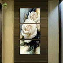 3pcs Rose Flowers Modern Wall Art Melamine Sponge Board Canvas Oil Painting Flowers Frame Art Picture Landscape Home Decor Paint